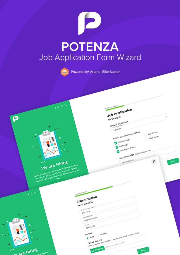 Potenza - Job Application Form Wizard