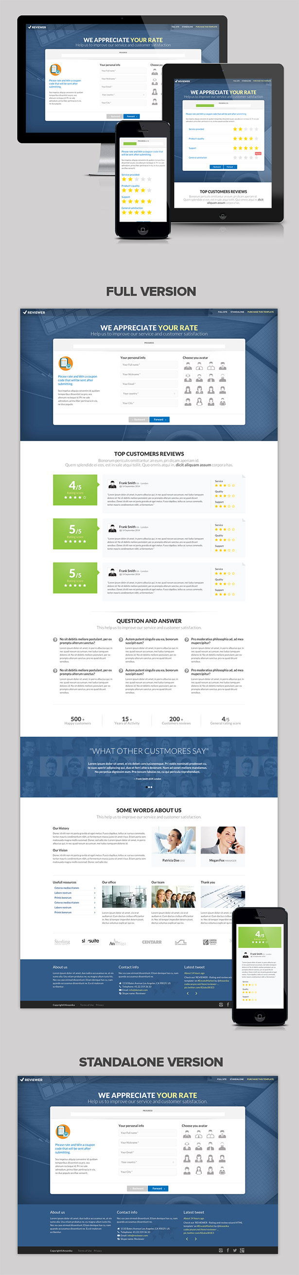 REVIEWER - Rating and Review Wizard HTML Template - 7